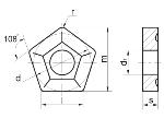 Пластина PNUM - 110408 ВК8(В35) пятигранная dвн=6мм (10114) со стружколомом